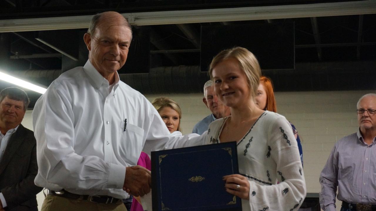 Sierra Gordon, the 2017 winner of the Sierra Kermit Wendland Scholarship, with Mr. Wendland. (LIVE! Photo/Joe Hyde)