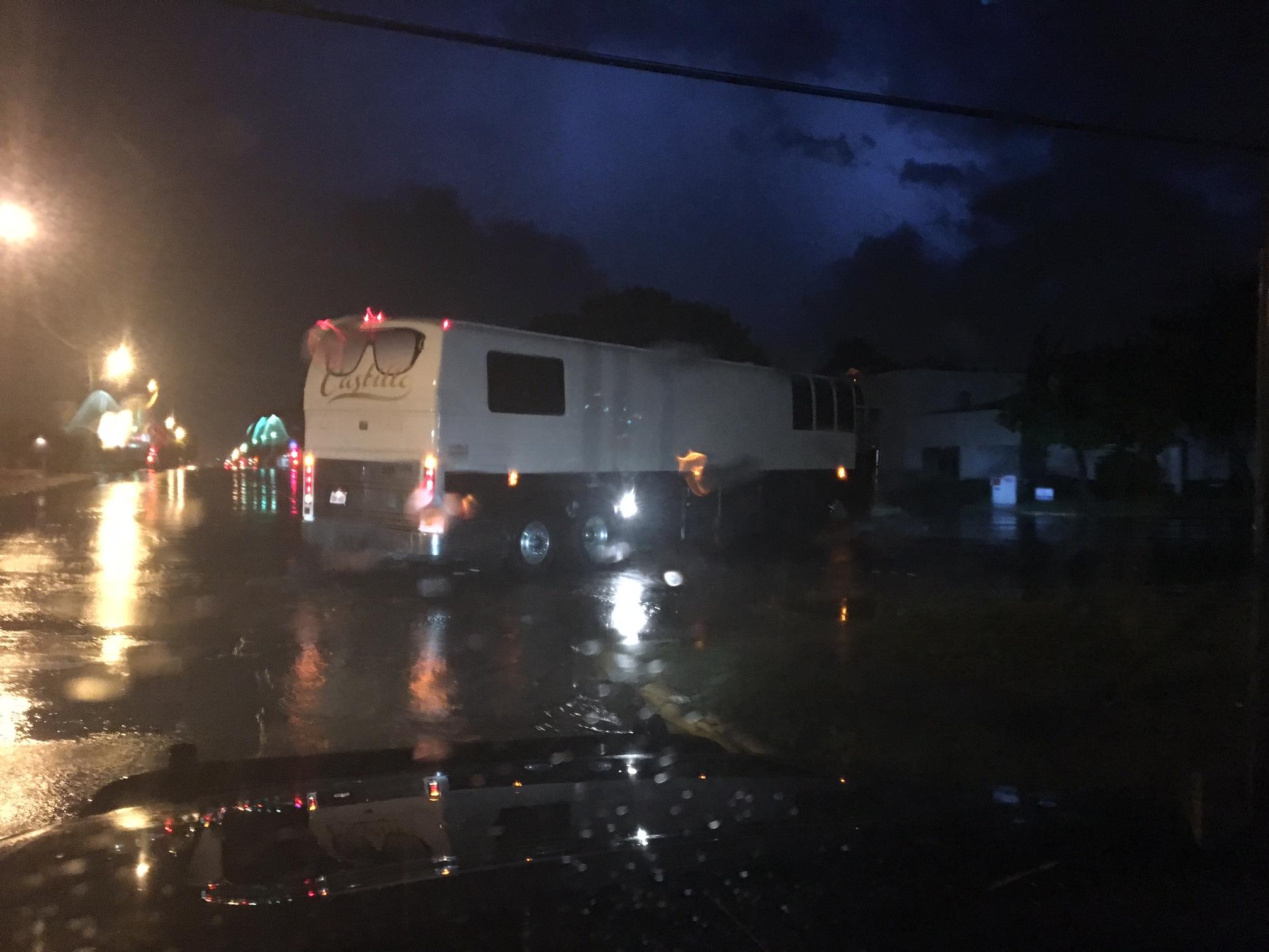 AJ Castillo's tour bus head out of town. (LIVE! Photo/Joe Hyde)