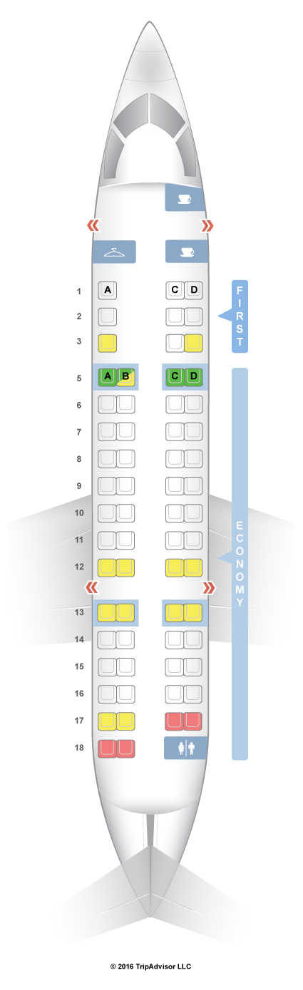 A proposed seating chart for the AA CRJ-700, soon to be servicing San Angelo. (SeatGuru.com)