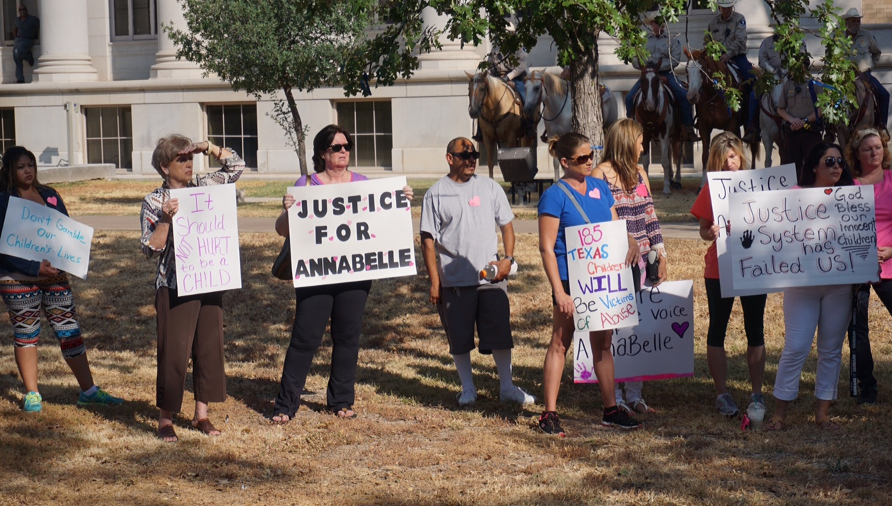 People rallied for justice and change in the way Tom Green County handles child sexual assault cases Monday morning at the Tom Green County Courthouse.(LIVE! Photo\John Basquez)