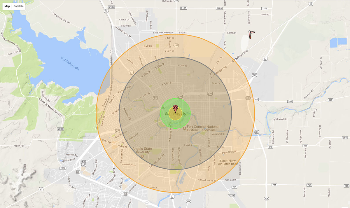 """The estimated blast radius of a North Korean nuclear missile if detonated as an """"air burst"""" approximately 1600 km above the center of the city. (Dr. Alex Wellerstein's NukeMap)"""