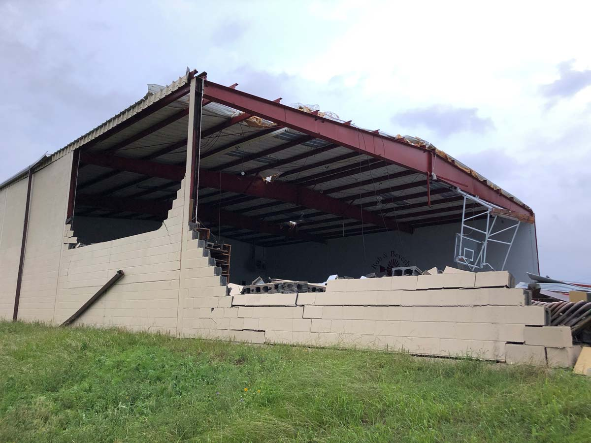 The Rob and Beverly Junell Gymnasium, built in 1972, is no more. At the West Texas Boys Ranch. (LIVE! Photo/Joe Hyde)