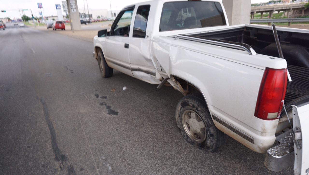 The Chevy Truck's damage. (LIVE! Photo/John Basquez)