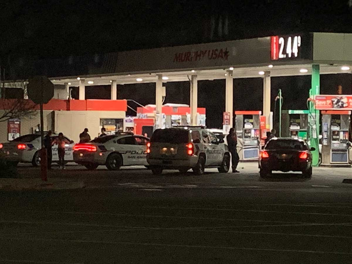 Multiple police units chased the kids to the Walmart gas station at N. Bryant and 29th Street and found them at a little past 10 p.m. Saturday night. (LIVE! Photo/John Basquez)