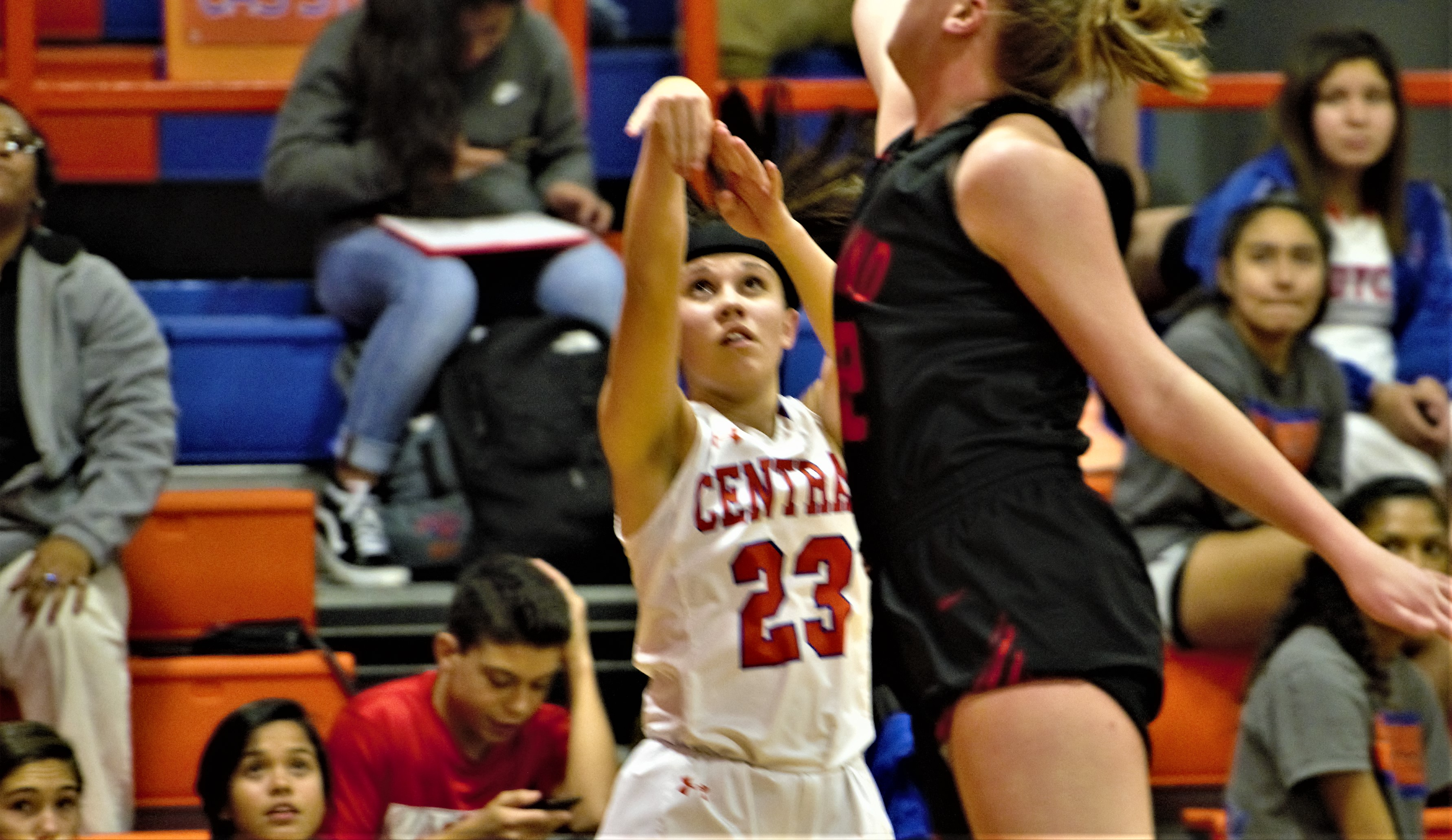 Central's Morgan Walker (23) shoots a three pointer against Levelland. Nov. 19, 2018 (LIVE! Photo/Sam Fowler)
