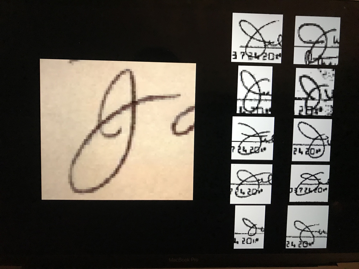 "John Sullivan's ""J"" from his signature shown left of 10 samples of a ""J"" in the signature of Julie Zapata's on checks from subpeaonaed banking records of the Zapatas, as shown by the defense team of John Young. (LIVE! Photo)"