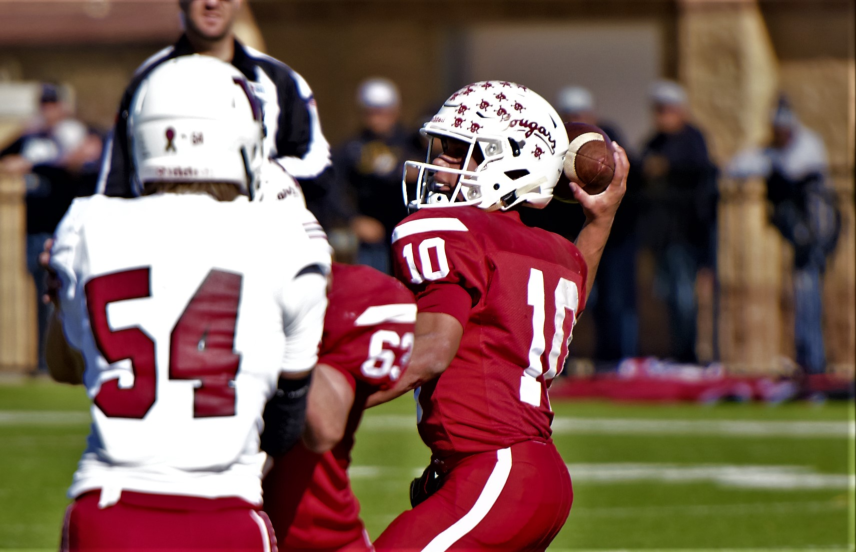 Christoval's Brayden Wilcox (10) throws a pass against Wellington in the Area Playoff. Nov. 23, 2018 (LIVE! Photo/Sam Fowler)