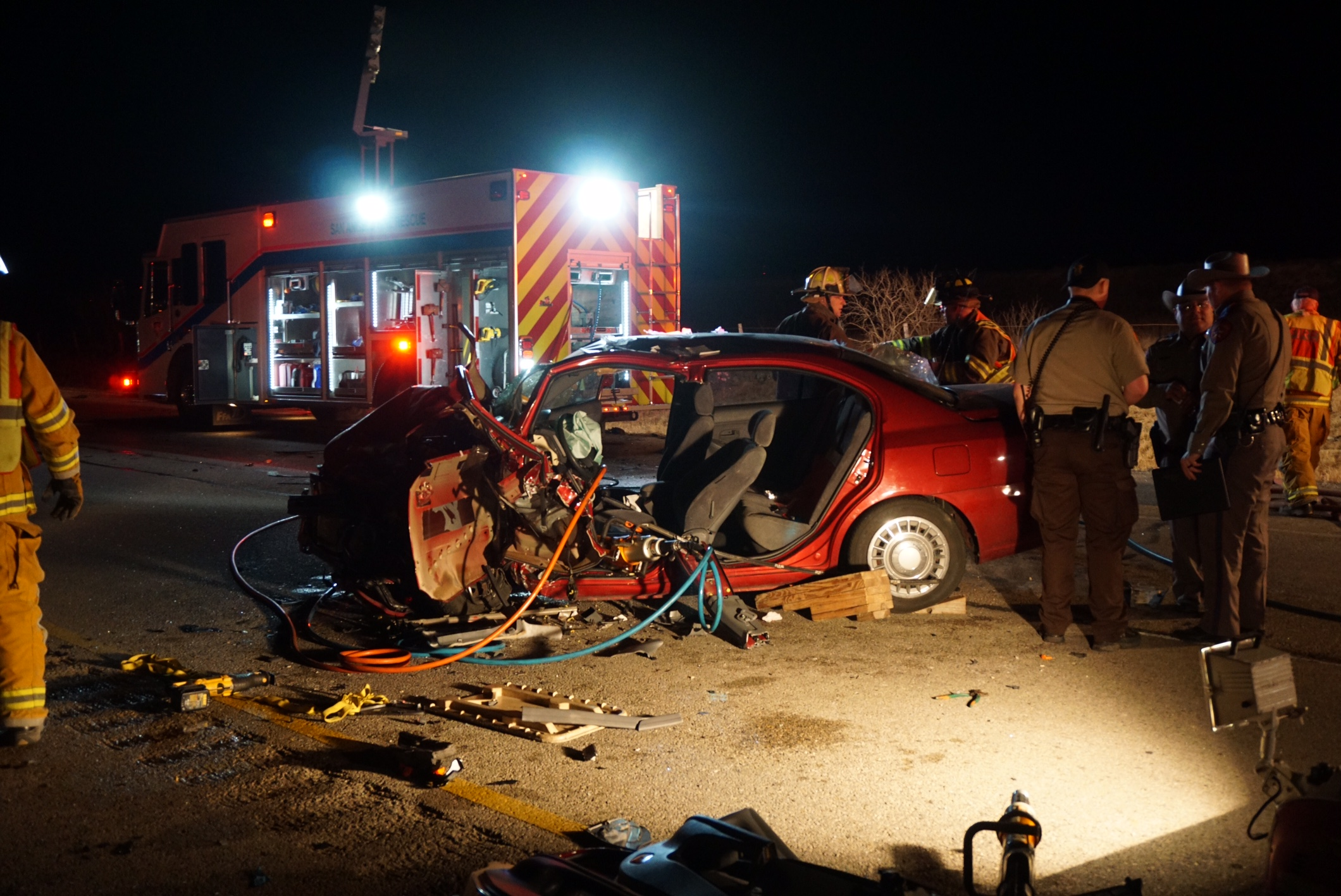 Jams of Life was used to extract both drivers in this two-car collision on U.S. 87 north on Feb. 14, 2015. (LIVE! Photo/John Basquez)