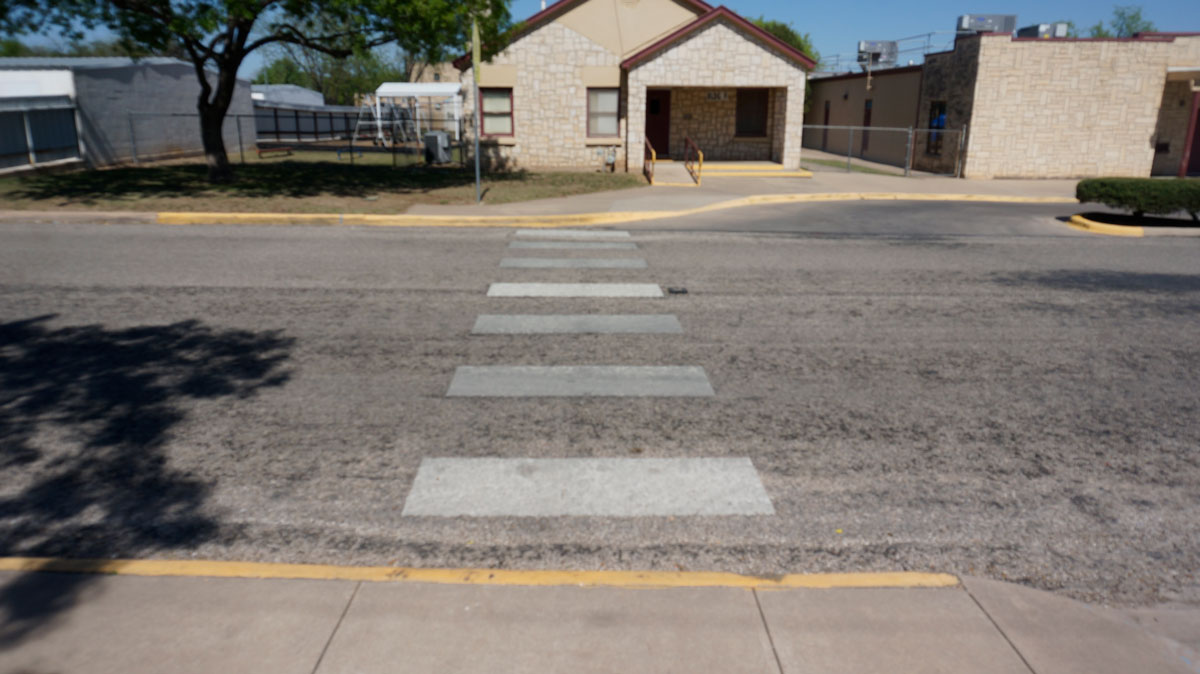 The crosswalk across Millspaugh St. at McGill Elementary School where kindergarten students have to cross daily. (LIVE! Photo/Joe Hyde)