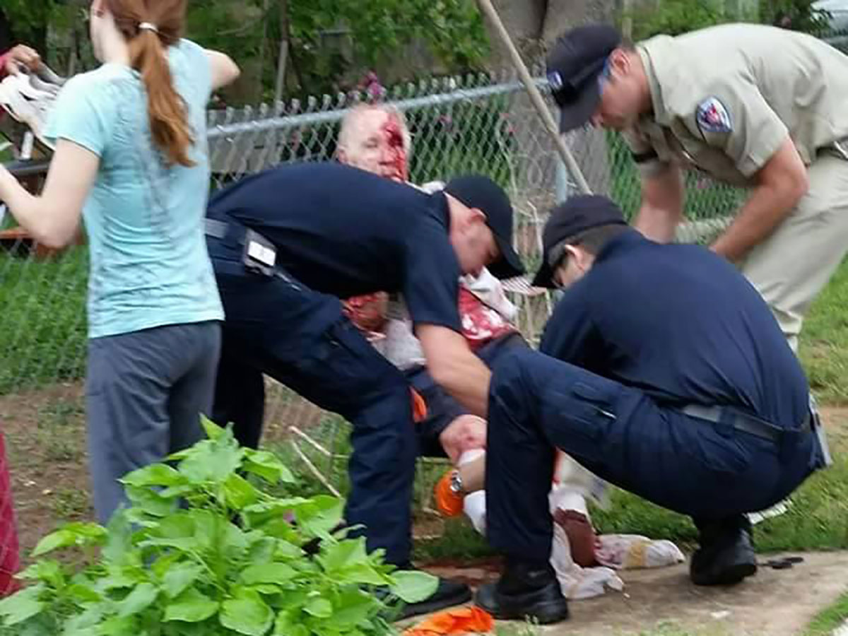 San Angelo EMS crews stabilize the victim of the dog attack on April 24, 2015. (COntributed/Rose Samaniego)