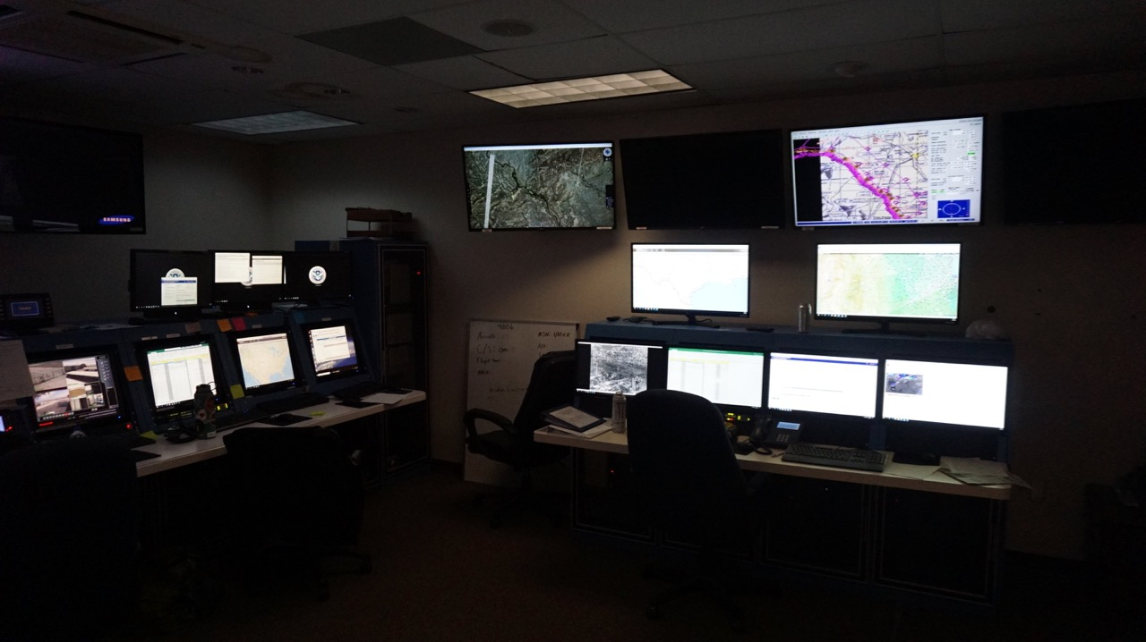 Inside the command post for the drone operations in San Angelo. (LIVE! Photo/Joe Hyde)