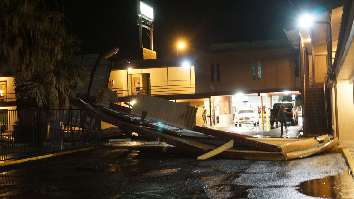 Roof blown off at the El Patio Inn on W Beauregard Ave. (LIVE! Photo/Cameron Niblock)