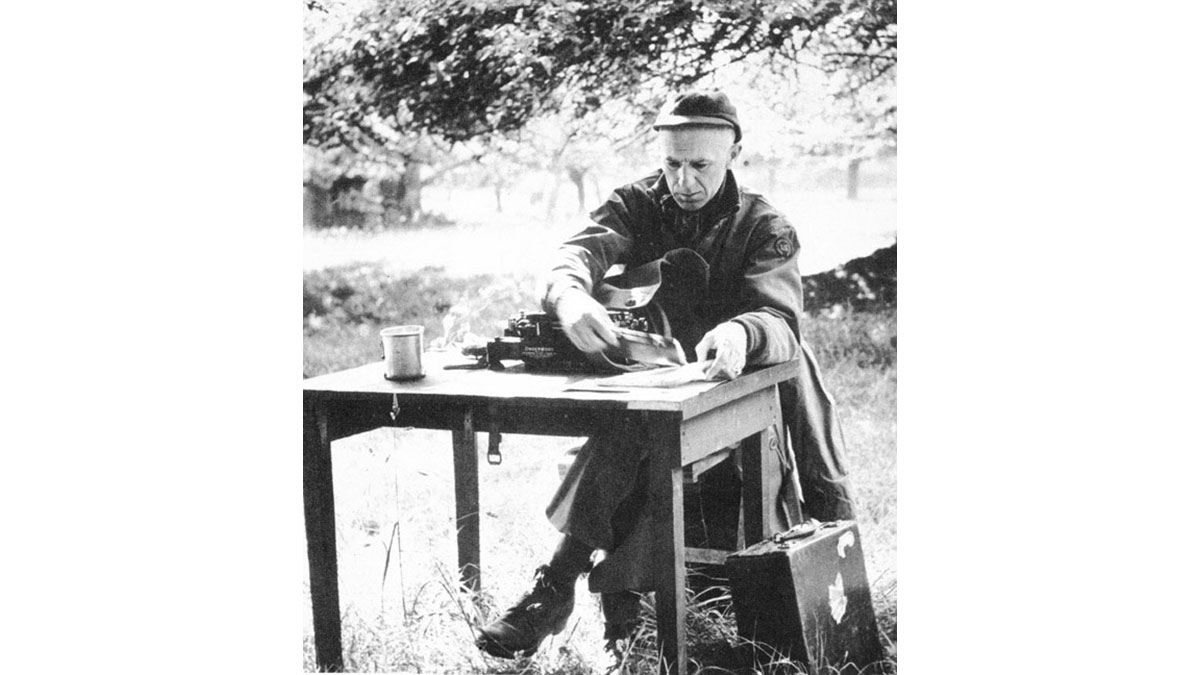 Ernie Pyle, the famous war correspondent who was killed by the Japanese on the South Pacific island of Ie Shima at the very end of the war.