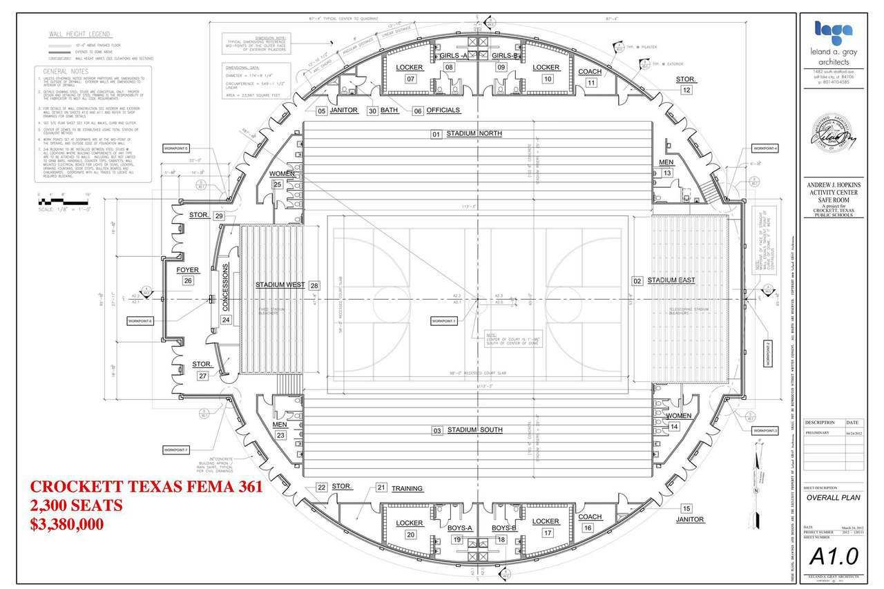FEMA Dome plans for Crockett, TX Dome.  FEMA image.