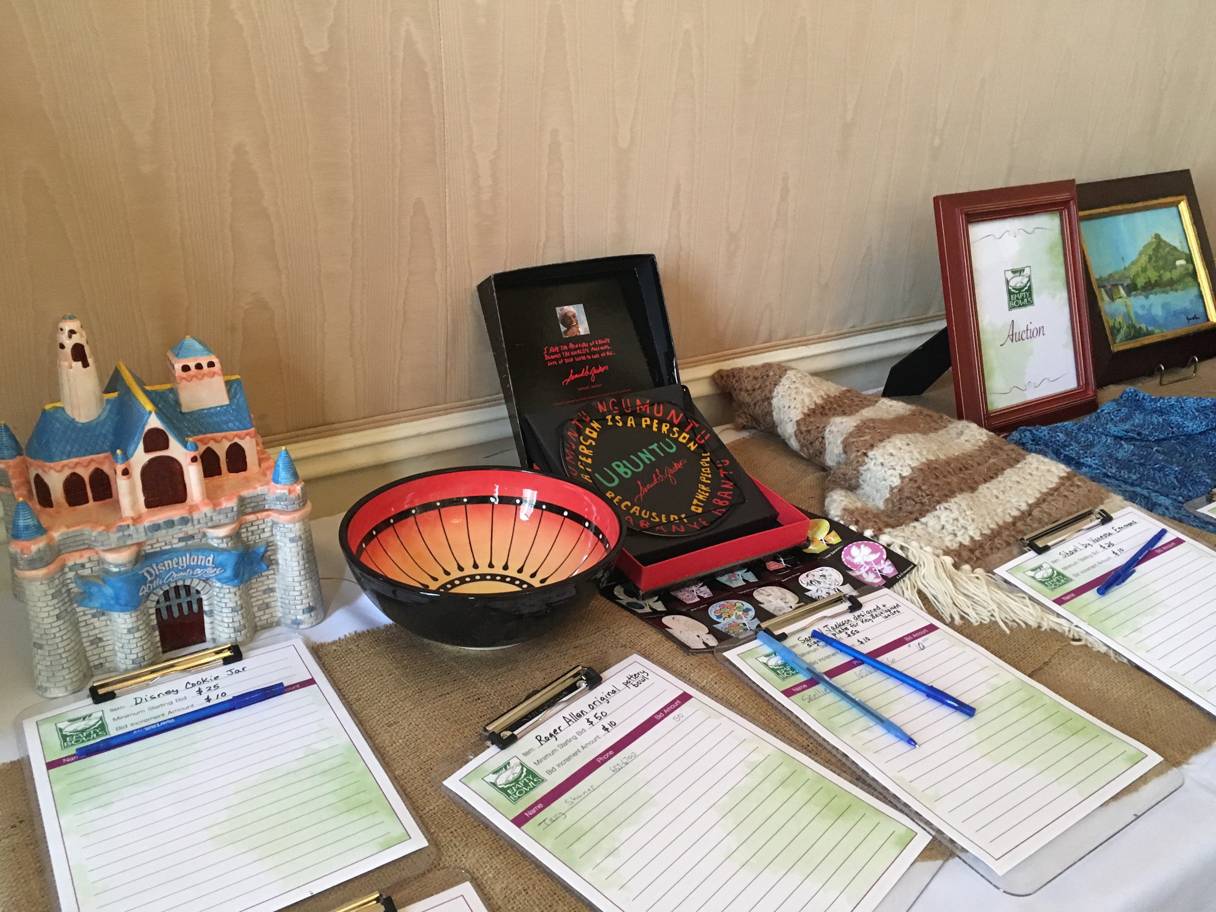 Auction Items at the 2016 Empty Bowls Event