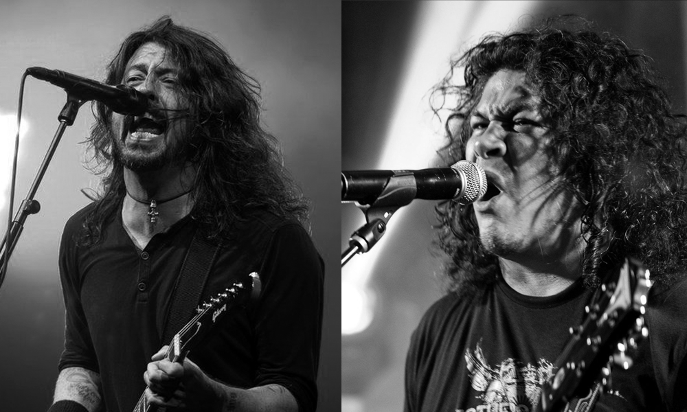 Jacob Guzman, lead singer of the tribute band The Fool Fighters (R), and Dave Grohl, the Foo Fighters' lead singer.