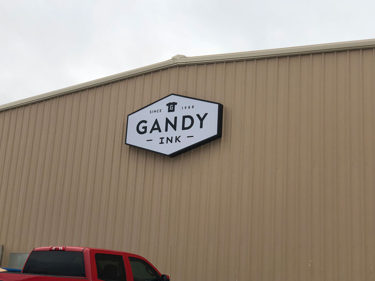 One of the two Gandy Ink signs was placed by the morning of Jan. 31, 2019. (LIVE! Photo/Sam Fowler)