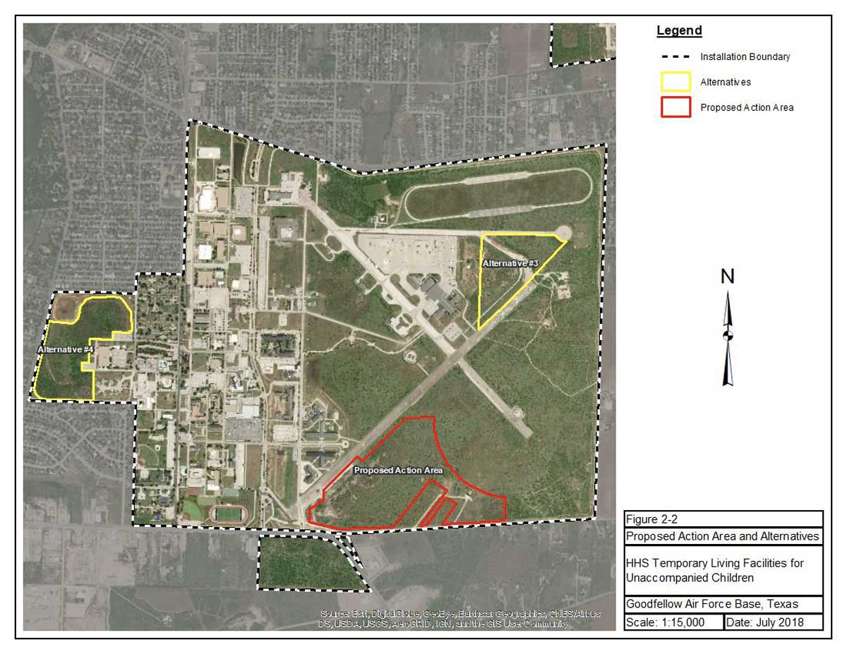 Proposed action area for building the child migrant facility at Goodfellow AFB. (USAF DRAFT ENVIRONMENTAL ASSESSMENT)