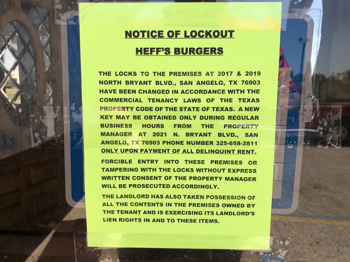 The eviction notice left on the door of the Heff's Hamburgers location in north San Angelo. (LIVE! Photo/Sam Fowler)
