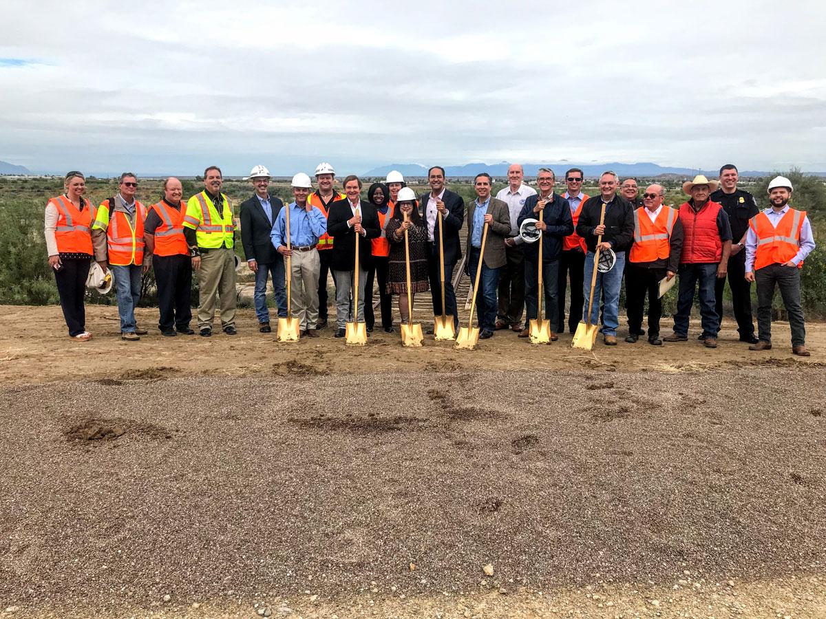 Officials prepare for groundbreaking on Oct. 23, 2018 of the Presidio-Ojinaga railroad Bridge. (Contributed/Rachel Holland)