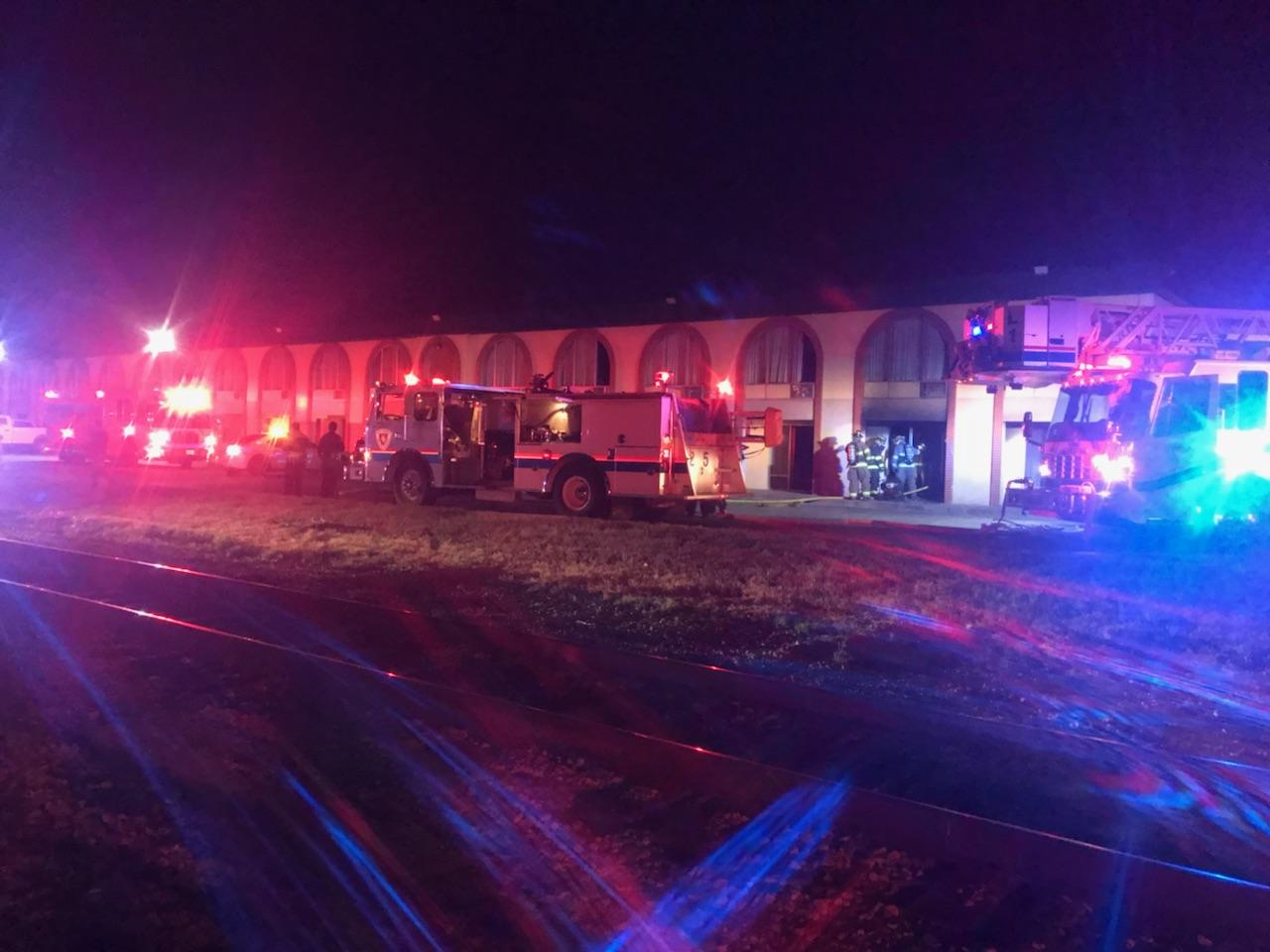 San Angelo Firefighters work quickly to knock down a fire at a hotel Thursday night.