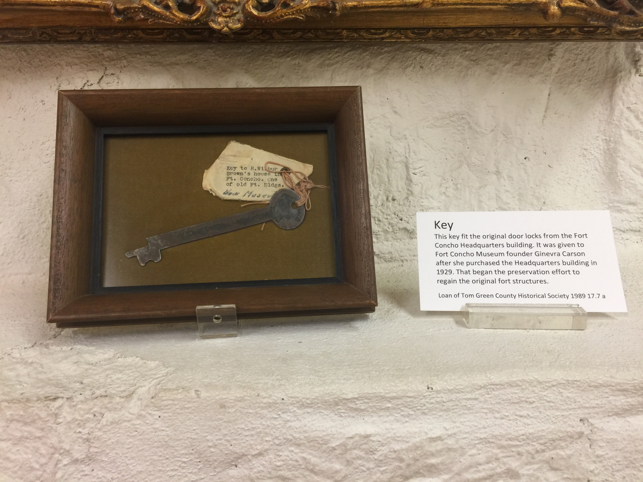 Key to the original Fort Concho Headquarters building
