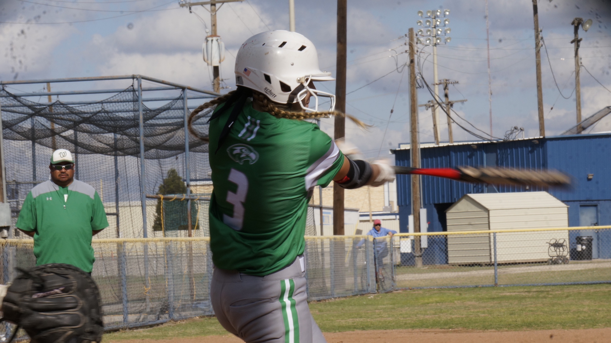 Wall's Ashley Dusek hits the second home run for the Lady Hawks against Reagan County. March 28, 2018 (LIVE! Photo/Sam Fowler)