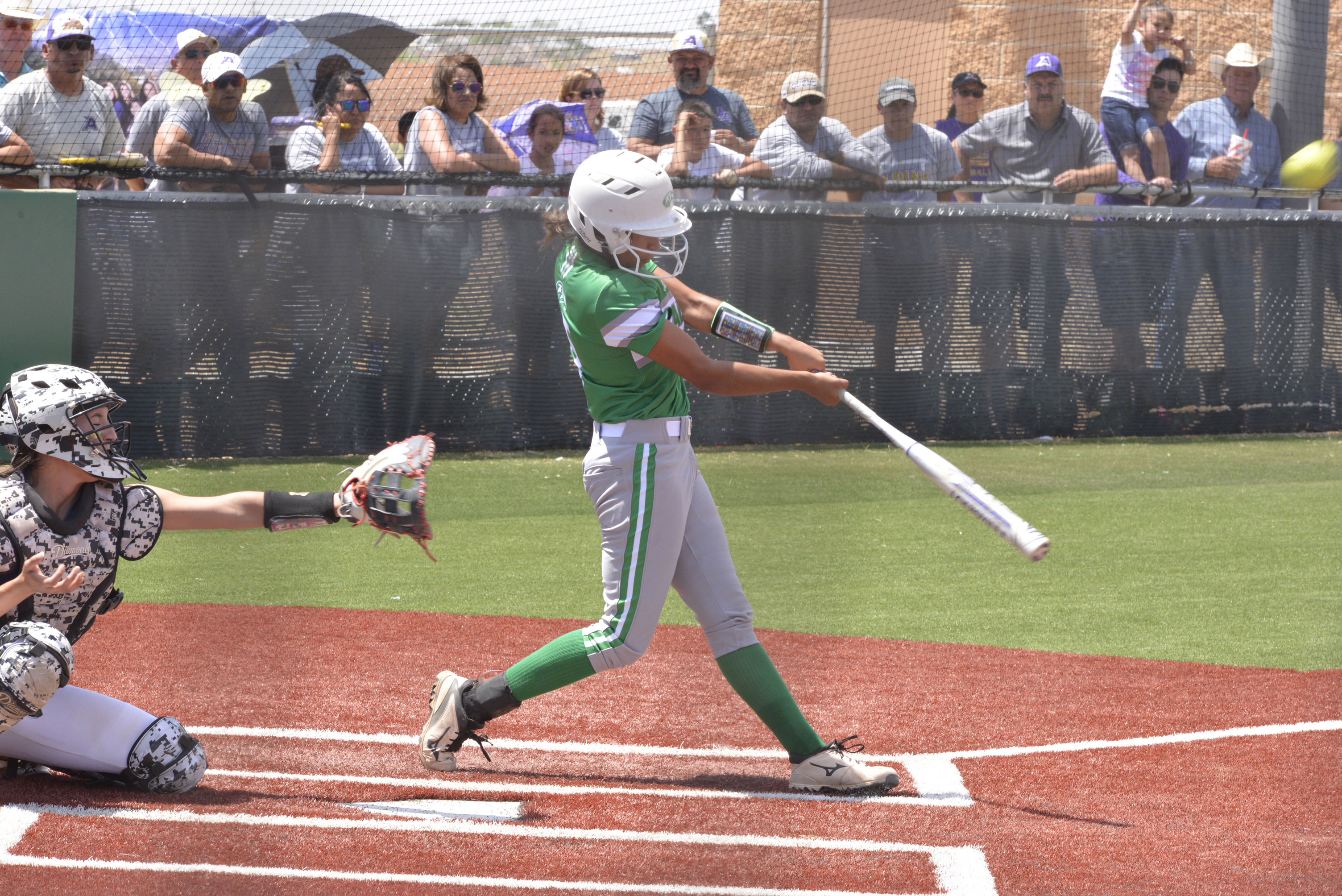 Wall's Lexi Valles drills a homerun against Alpine. May 12, 2018 (LIVE! Photo/Sam Fowler)