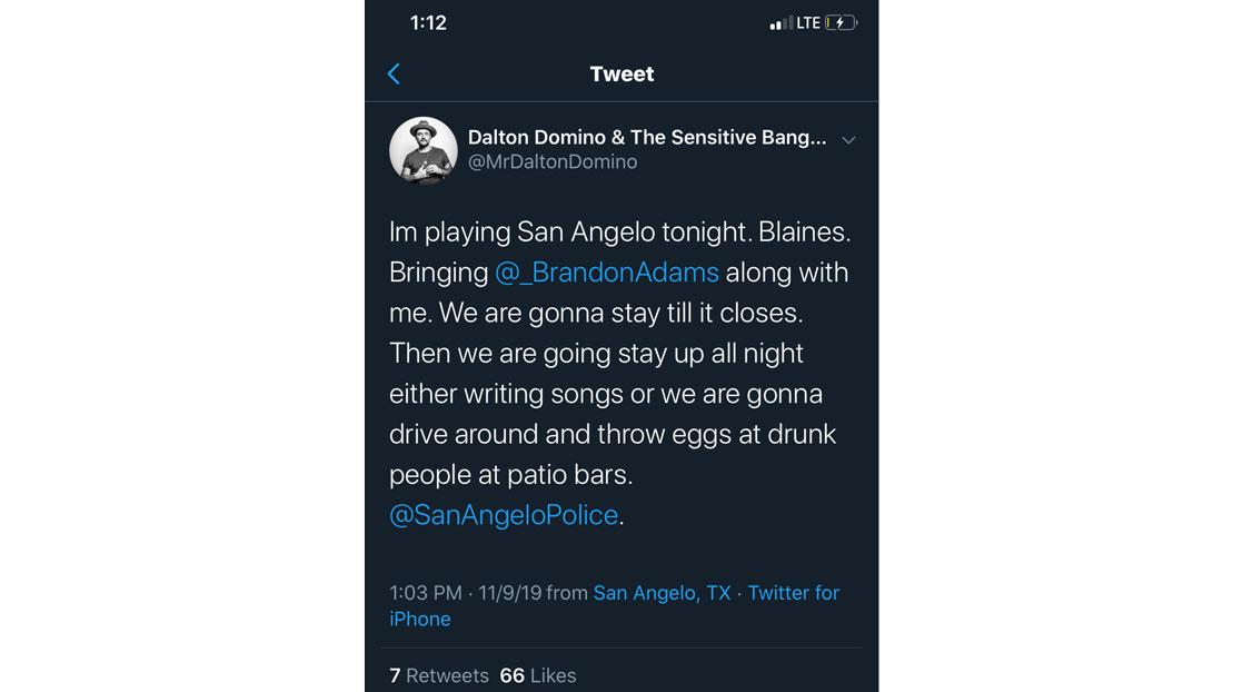 Dalton Domino's Tweet About Blaine's Pub (Twitter)