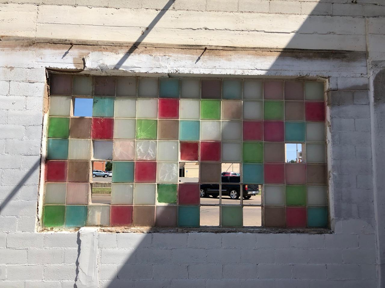 The glass tile sports the work of an artist's paintbrush already. (LIVE! Photo/Joe Hyde)