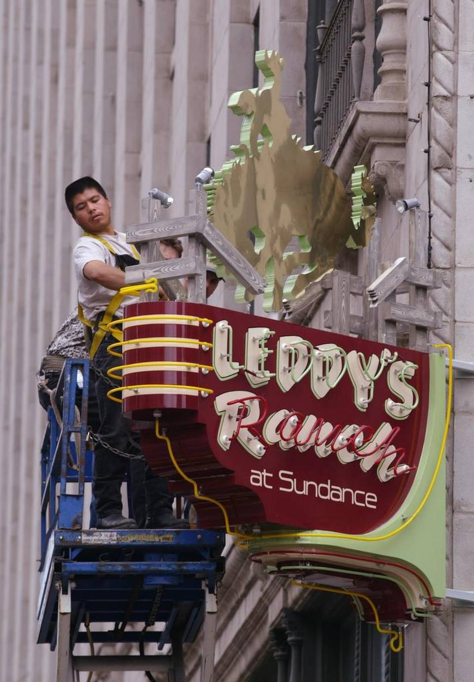 M.L. Leddy's Sign at Sundance Square in Fort Worth Texas (Photo Courtesy of Star-Telegraph)