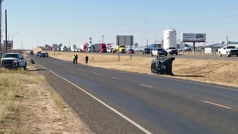 Odessa Rollover Crash (Photo Courtesy of CBS 7)