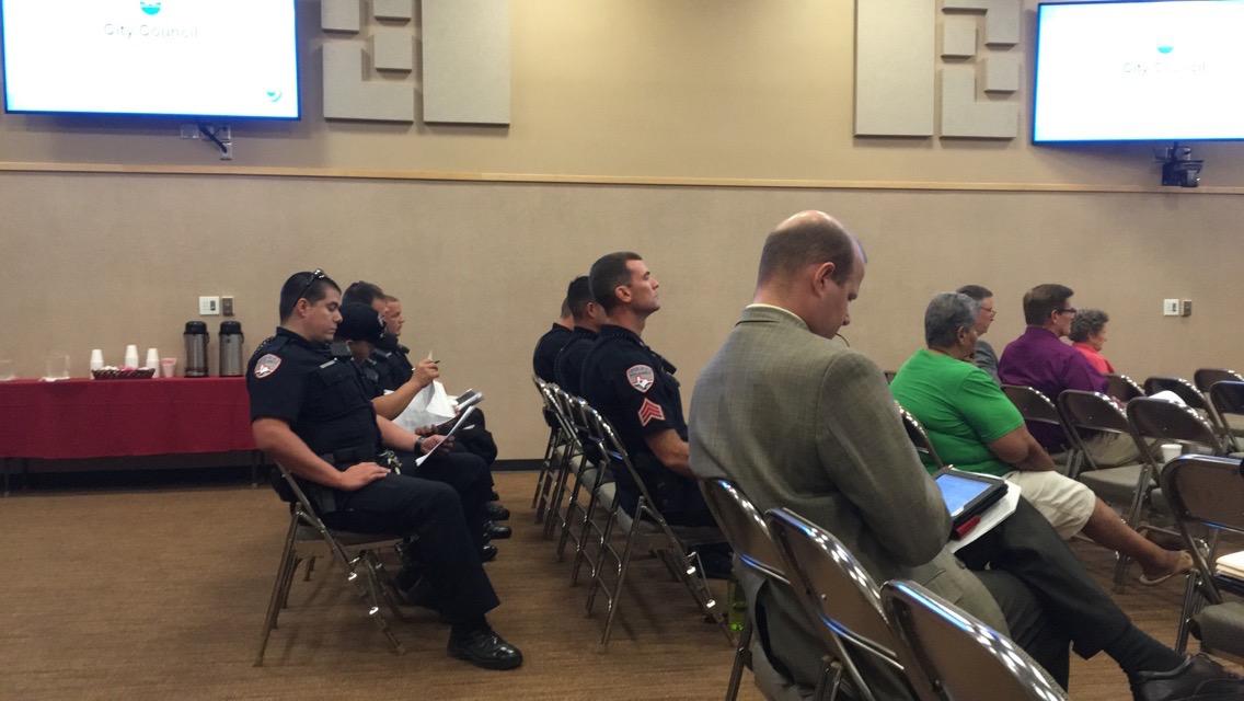 SAPD officers listen at City Council. (LIVE! Photo/Maura Ballard)