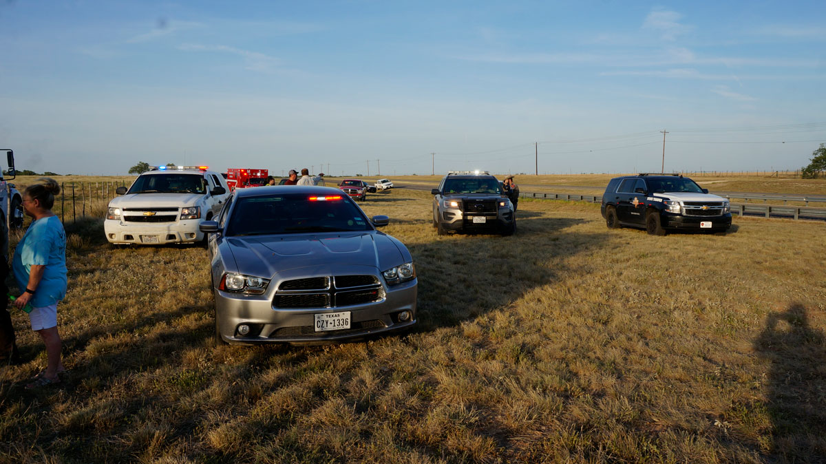 The armada of law enforcement and VFDs that responded to the chase and subsequent crash. (LIVE! Photo/Joe Hyde)