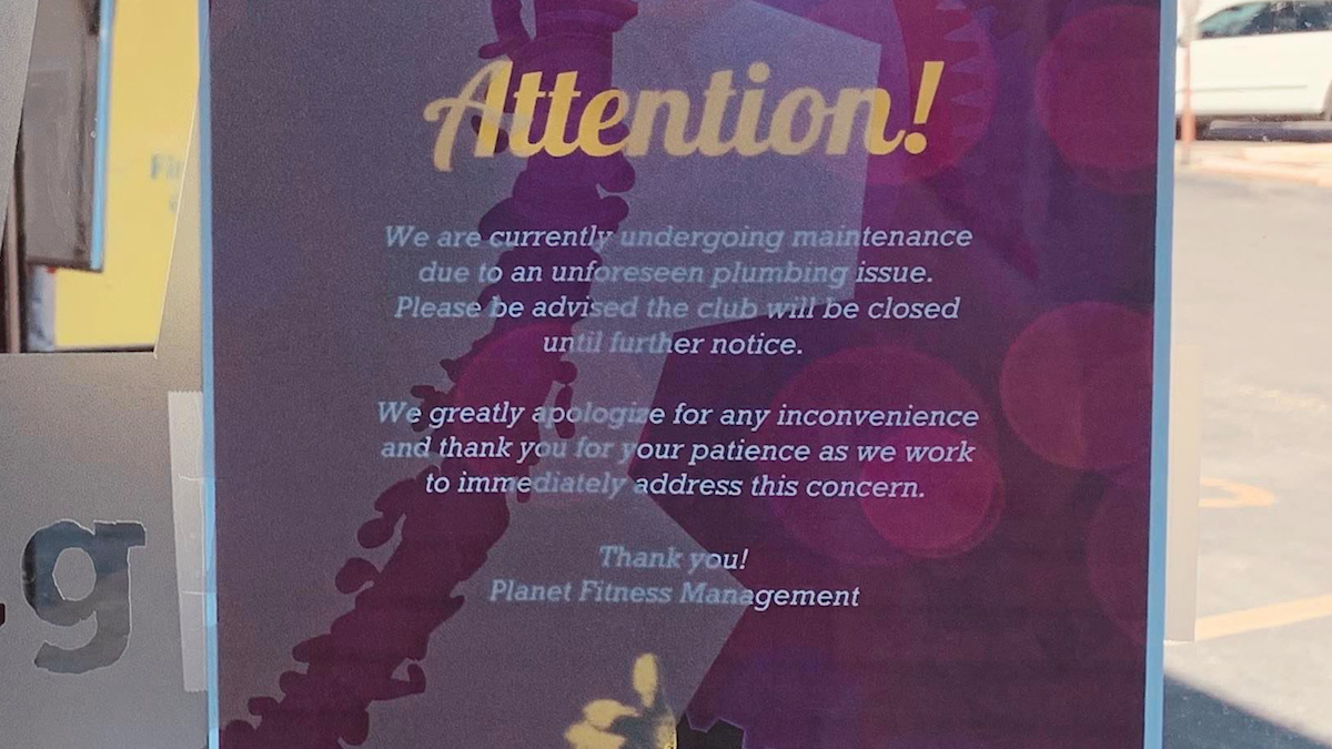 The current sign posted on the front door of the San Angelo Planet Fitness Location. LIVE! Photo/Matt Trammell