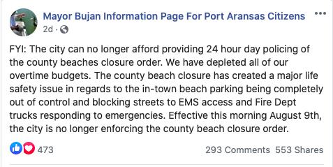 Port Aransas Mayor Charles Bujan PSA Lifting Beach Ban