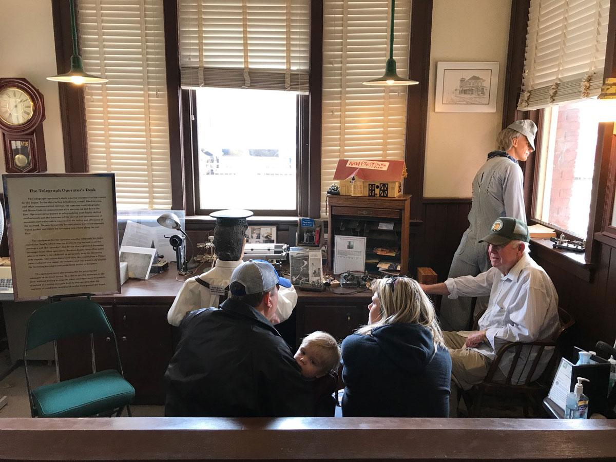 The telegraph operator's desk display in the Santa Fe Depot in San Angelo. (LIVE! Photo/Joe Hyde)