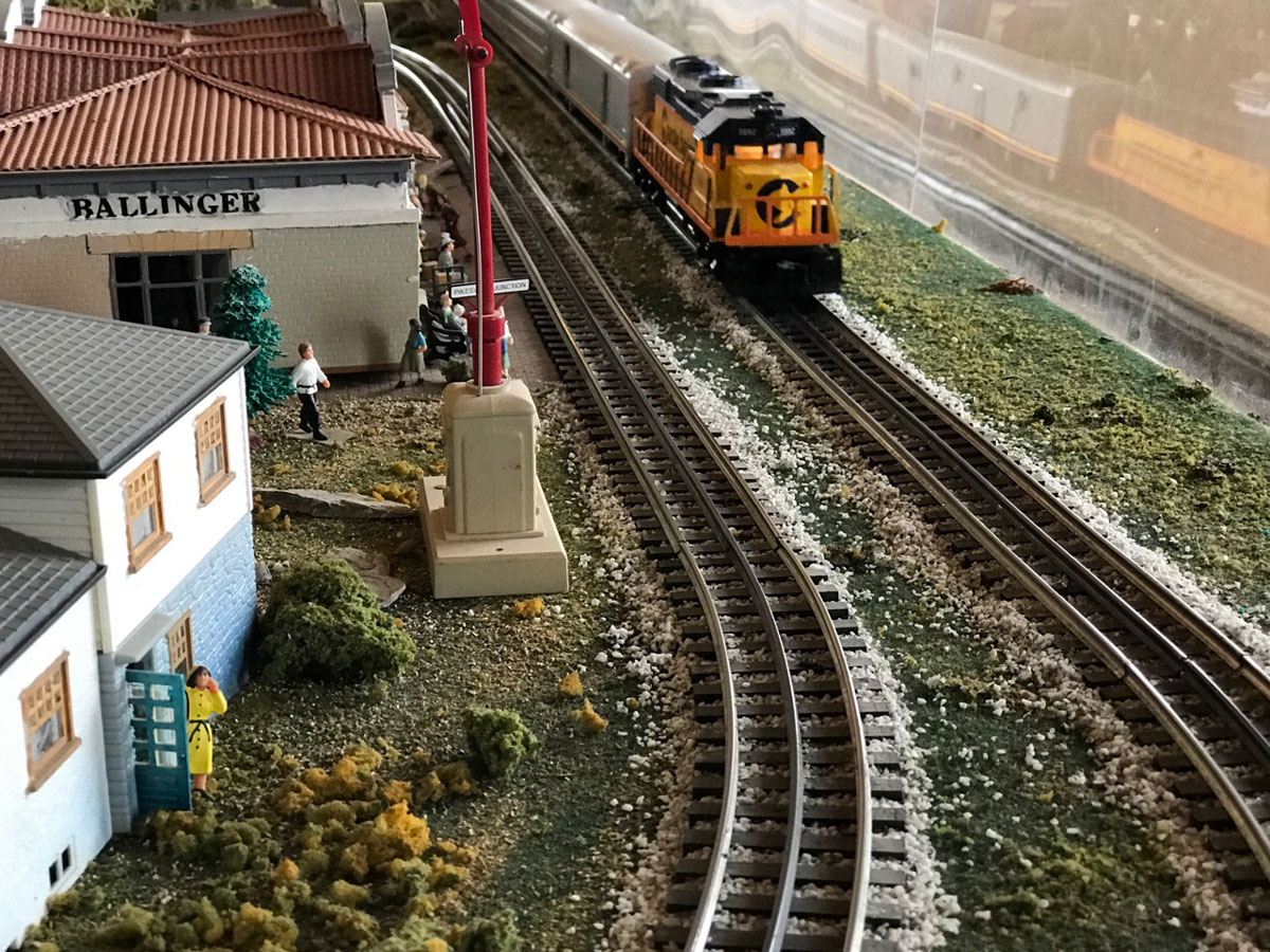 The HO scale model railroad layout here depicts the tracks and depot in Ballinger. (LIVE! Photo/Joe Hyde)