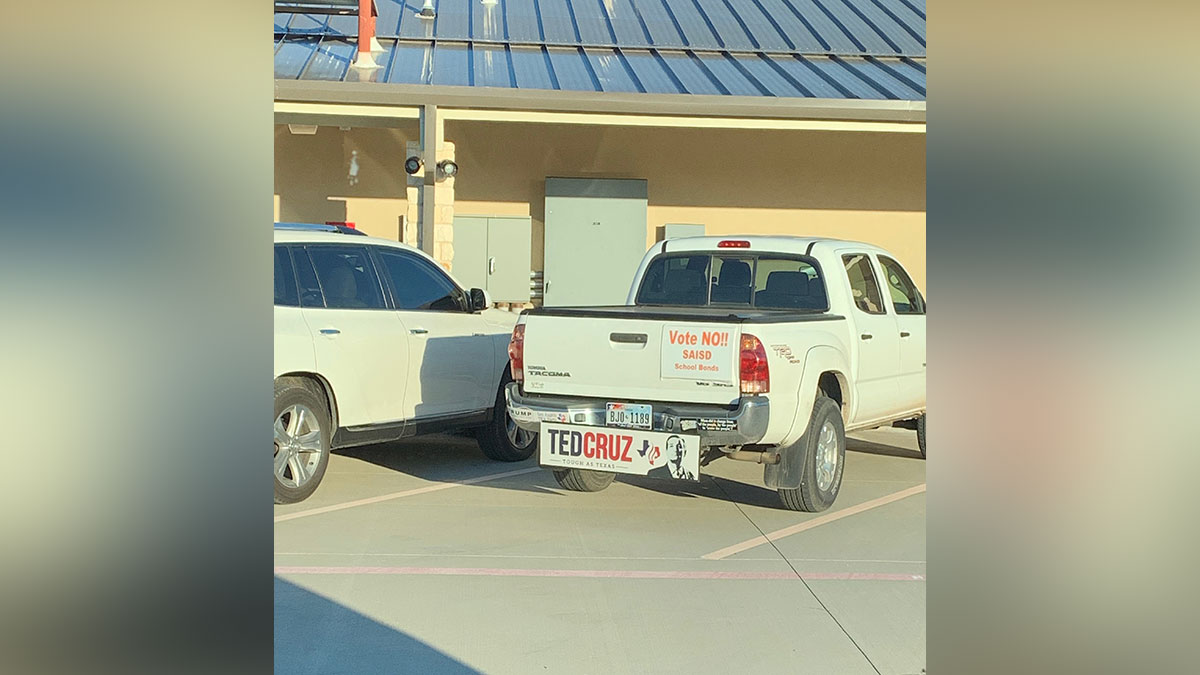 Allegedly, this is anti-bond activist and polling location leader Kat Rowoldt's truck, parked 51 feet from the door. (Contributed/David Currie)