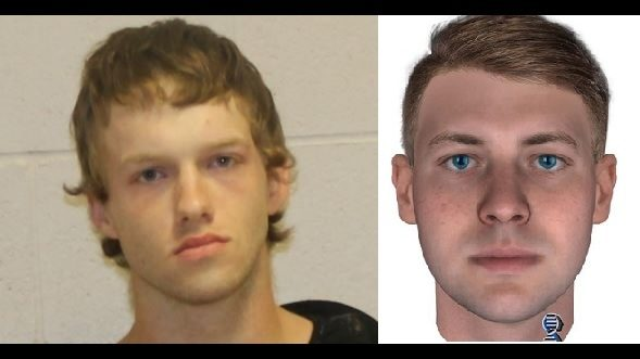 Riggs mugshot beside DNA composite photo courtesy KTXS