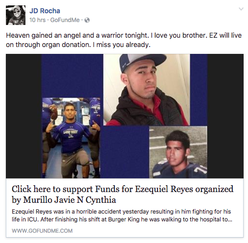 EZ's brother JD Rocha posts a FaceBook post stating EZ has passed away.