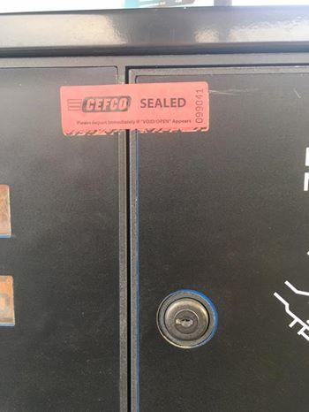 Safety Sticker across fuel pump