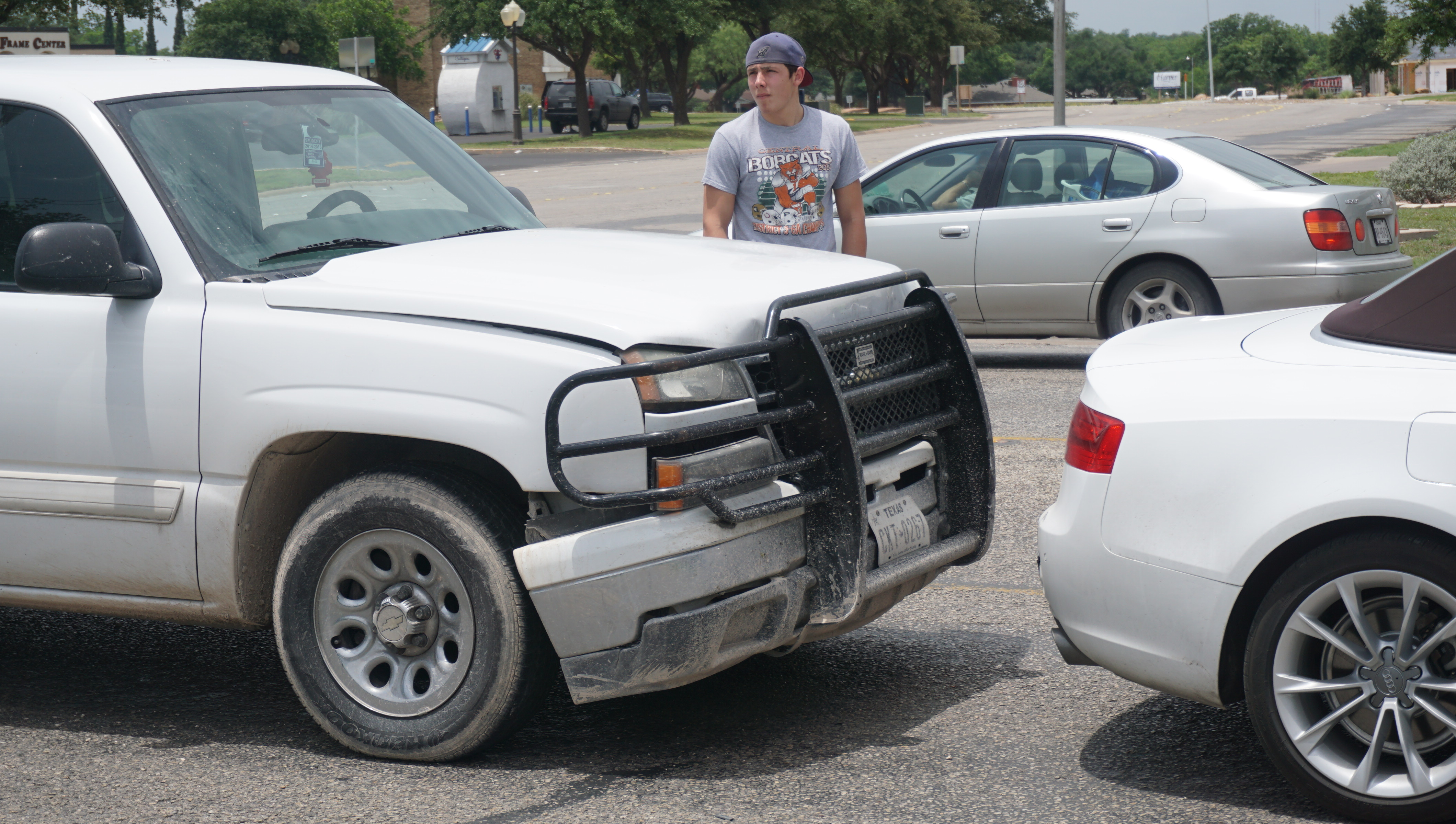 The Audi survived a rear-ending from a Chevy Silverado on Knickerboacker Rd on May 23, 2015. (LIVE! Photo/John Basquez)