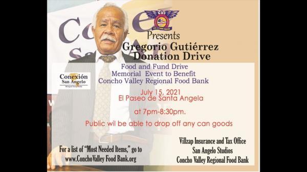 Gregorio Gutierrez Donation Food Drive Ends Next Thursday