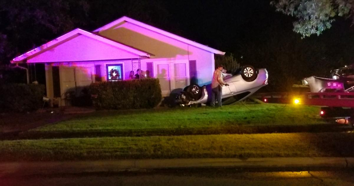 Police said a drunk woman driver crashed into a home at Ave. J and Van Buren on Oct. 13, 2017. (LIVE! Photo/Janessa Nunez)