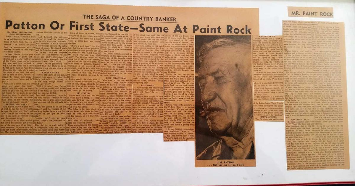 Currie's grandfather in a newspaper clipping hanging on his wall in the Cornerstone Builders office.