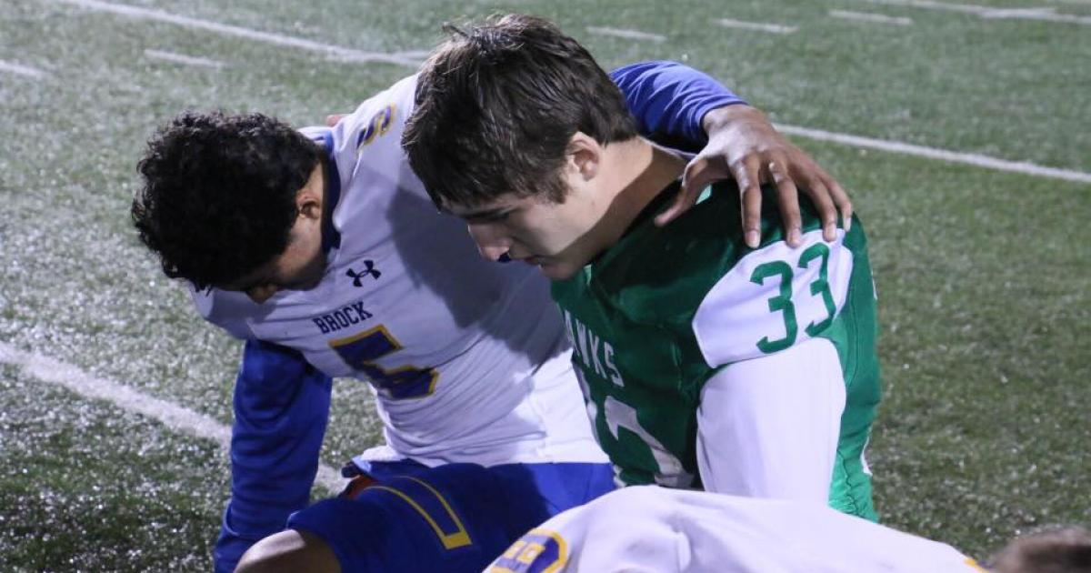 Brock Eagle Kobe Trought and Wall Hawk Casey Braden at the end of the championship game Dec. 2, 2016. (Contributed/Rodney Fleming)
