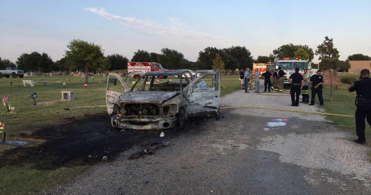 Man Sets His Pickup on Fire in Middle of Cemetery