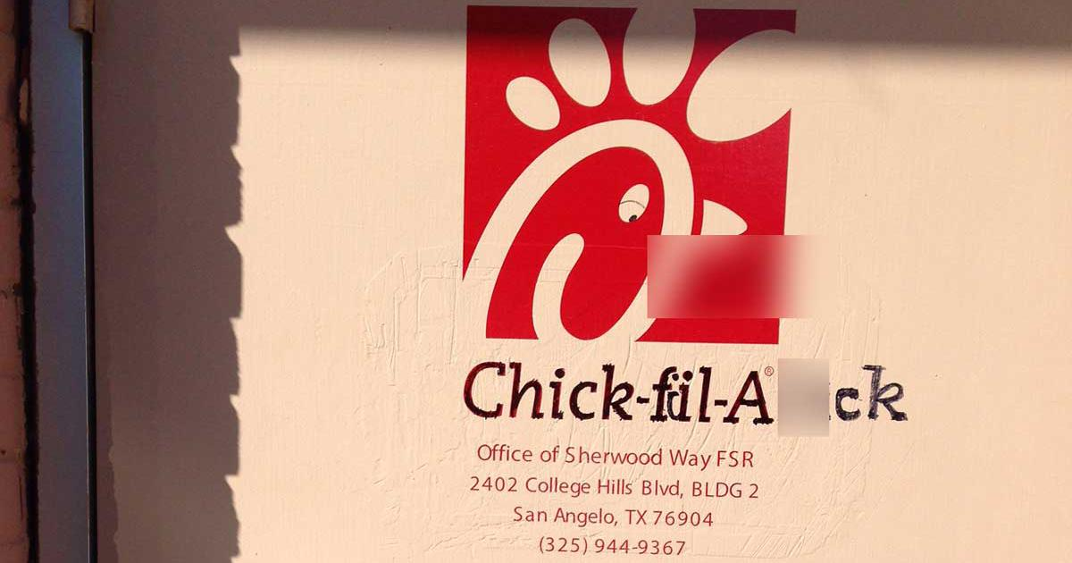 Warning Graphic San Angelo Chick Fil A Offices Defaced