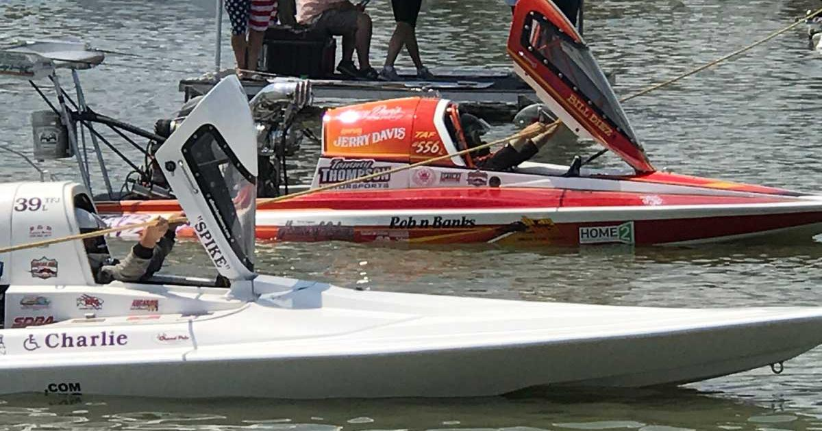 The Lucas drag boat races have continued. These are two boats lining up to race at the 2017 Showdown in San Angelo. (LIVE! photo/Joe Hyde)